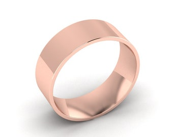 Rose Gold Mens Wedding Band, Wide Band Ring, Male Wedding Ring, Wide Wedding Band, Male Engagement Ring, 14K Rose Gold, 8.00mm Wide Band