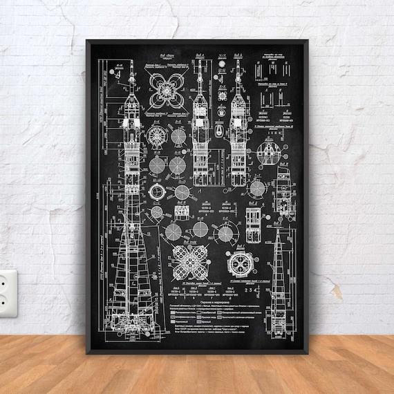 Soviet rocket blueprint rocket poster rocket patent print malvernweather Gallery