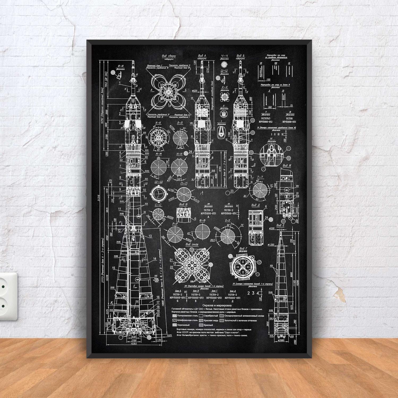 Blaupause SOWJETISCHE RAKETE Rakete Poster Rakete Patent