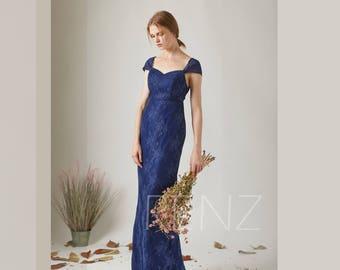 Party Dress Deep Royal Blue Lace Wedding Dress,Cap Sleeve Bridesmaid Dress,V Back Fitted Maxi Dress,Sweetheart Bodycon Evening Dress(LL359)