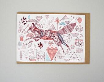 Greeting Card - Fox + Diamonds