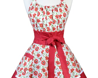 Flirty Chic Pinup Apron - Red Poppies Apron - Womens Sexy Cute Retro Kitchen Apron with Pocket - Monogram Option