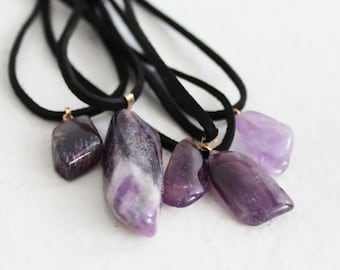Amethyst crystal choker, amesthyst healing stone, chakra necklace