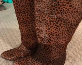 Vintage Fur Boots. Cheetah Print Fur Boots. Made in Italy Fur Boots. Vintage Boots.