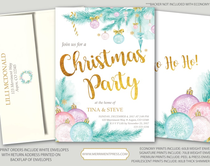 Christmas Party Invitation // Holiday Party // Pine // Ornaments // Chirstmas Tree // Winter // Gold // Pastel // ASPEN COLLECTION