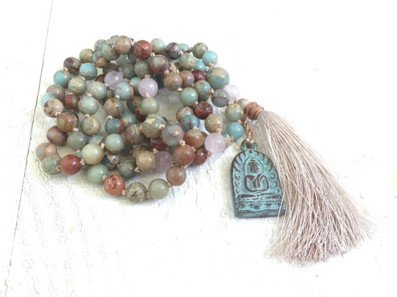 BALANCE THE CHAKRAS - Mala Beads - African Opal Mala Necklace - Buddha Mala - 108 Mala Beads - Hand Knotted Mala - Meditation Beads