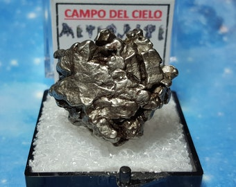METEORITE Campo Del Cielo Genuine Meteorite In Perky Mineral Specimen Box With Extraterrestrial Meteorite Writing Card From Argentina