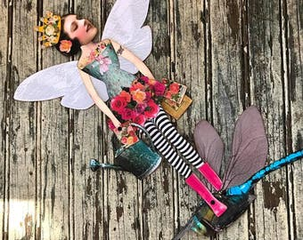 FAIRY of the GARDEN Digital Paper Doll Fairy Tales Collage Sheet Digital Download ROSES Fairy Paper Doll