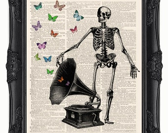 Dictionary art print Skeleton - vintage Victrola phonograph with butterflies! Printed on a upcycled vintage dictionary page.