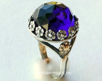 Sterling silver Amethyst ring, gemstone ring, twotones amethyst ring, boho stone ring, flowers ring, gold silver ring - Imagine us  R2108
