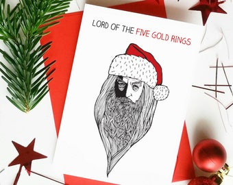 Funny Lord of the Rings Christmas Card | Santa Gandalf Lord of the Five Gold Rings