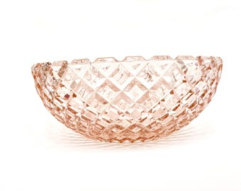 Pink Depression Era Glass Serving Bowl by Hocking Glass Company Waterford Waffle Pattern, 1938-1944