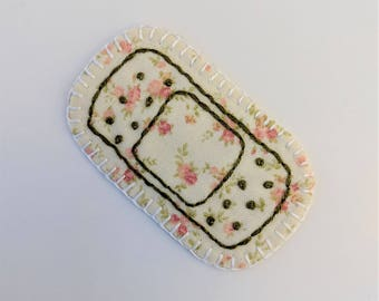 Green Floral Bandaid Patch or pin