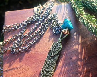 Men's feather charm necklace