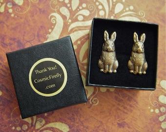 Rabbit Cufflinks Brass & Class Men's Accessories Men's Gifts Men's Cufflinks Victorian Steampunk Fashion Vintage Inspired Brass Bunny