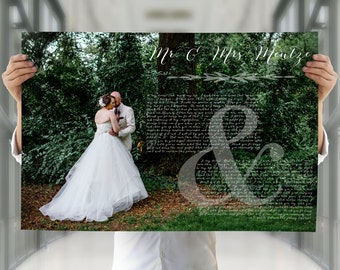 Anniversary gift for her, anniversary gift for him, wedding vows poster, paper anniversary gift, 5th anniversary gift