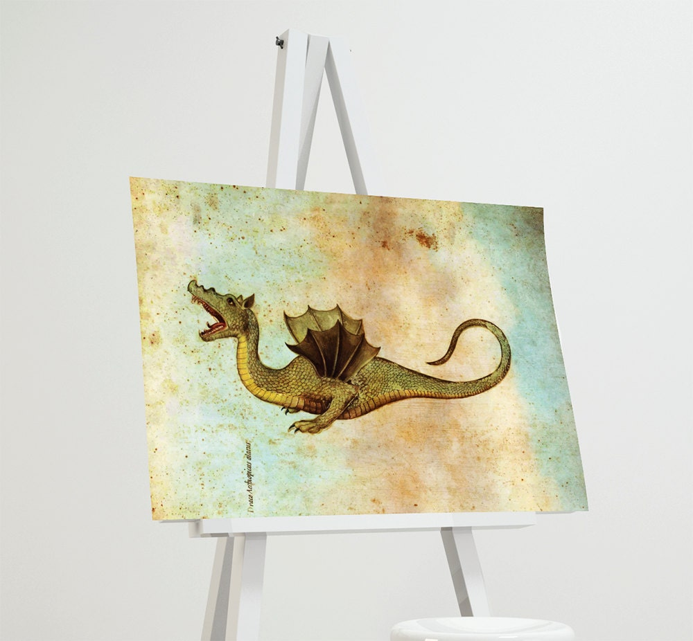 Medieval Dragon Print Vintage Wall Art Giclee Print on