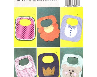 Baby Bib Pattern Butterick 4533 Fun Applique Decorated Bib Scalloped Bib, Shirt Bib, Bear Bib, Velcro Bib Boys Girls Infant One Size Uncut