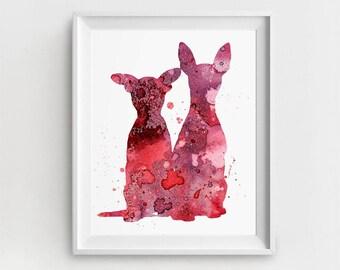 Chihuahua Print, Chihuahua Art, Digital Chihuahua, Large Wall Art, Pets Printable, Watercolor, Magenta, Chihuahua Wall Decor, Chihuahua Gift