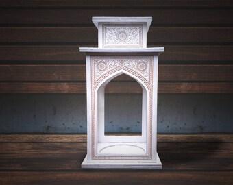 """Wooden Lantern """"Istanbul"""" for tea-light, tea light, white lamp, oriental lighting holder, engraved moroccan, unique gift"""