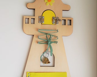 Sensory Board | Busy Board | Montessori Toy | Wooden Toy | Activity for autism and demension | Lighthouse