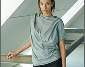 Heather Gray Cotton Blouse / Yoga Clothing / Oversized Short Sleeved Top / Asymmetrical Top / Gift For Her / Yoga Top by AryaSense /TPRK12LG