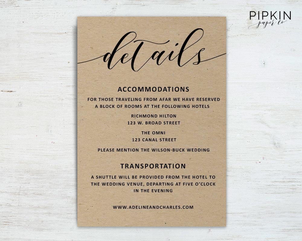 Wedding Details Template Wedding Information Card Rustic