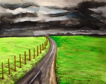 Storm Approaching - Watercolor Painting - Lightning - Country Road - Landscape - Original Art