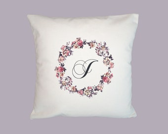 Initial - Monogram floral Wreath - Personalized HANDMADE 16x16 Pillow Cover - Choice of Fabric