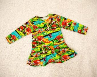 Jersey dress, girls dress, baby dress, toddler dress, kids dress, Toadstool houses.