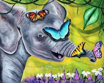 Baby Elephant, elephant painting, butterfly painting, nursery, elephant nursery, kids room, wall art, elephant art, elephant tattoo, decor