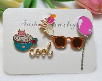 Fashion pin set of 5. Enamel pins. Gifts.