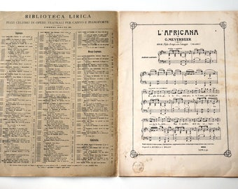 Antique Sheet Music 1910s, famous pieces of opera music L'Africana by Meyerbeer, baritone singing and piano sheet music
