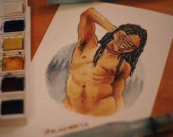 Original Postcard Watercolor - Perception