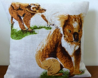 Koala Cushion Cover Koalas Australian Animals Marsupial Australiana Upcycled Vintage Tea Towel Linen Repurposed Fauna