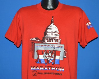 90s Marine Corps Marathon for Drug Free America t-shirt Large