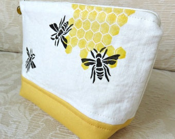 Honey Bee Zip Pouch, Hand Printed Fabric Clutch