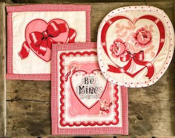 Vintage Valentine's Hot Pads - Set of 3