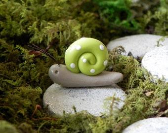 Fairy Garden Snail - accessories - terrarium - citrus green with white polka dots miniature