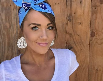 Kansas City Royals Dolly Bow Headband || Pinup Rockabilly Missouri Girl Twist Yoga Baseball Game Blue White Gold Headscarf Hair Band Wrap