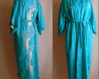 Vintage Embroidered Kimono Robe Rayon / FIRE BREATHING DRAGON / Medium size / Floor Length Turquoise Blue White