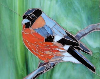 Bullfinch Card - Greetings Card - Bullfinch Mosaic Art - Birthday Card - Bullfinch Art - Stained Glass Bird Card - Original Mosaic Bullfinch