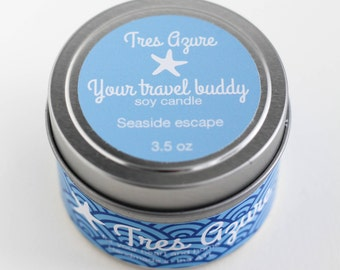 Your travel buddy_Seaside Escape Soy Candle in 4oz Tin, Scented Candle, Wood Wick Candle, Scented Soy Candle, Tin Candle