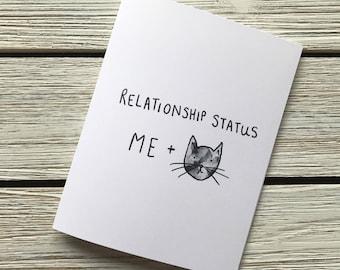 Funny Cat Card // Cat Valentines // Cat lady // Relationship status