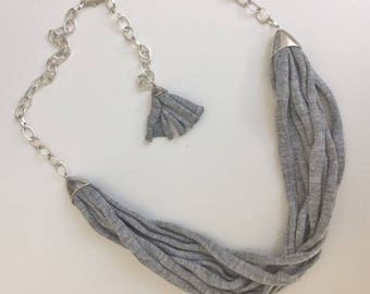 Recycled cotton necklace and silver chain