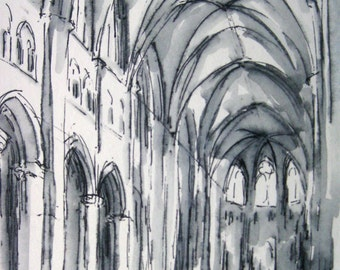 Original Ink Drawing, Sens Cathedral, French Architecture, Gothic Architecture, Pen and Ink Drawing, Black and White Art, Architectural Art