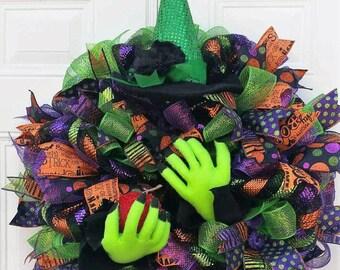 Halloween Wreath - Halloween Door Wreath - Halloween Door Decor - Halloween Wreath Witch - Witch Wreath - Halloween Decorations - Large Wrea