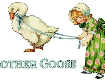 Art Deco Style Mother Goose Nursery Rhyme Decal 1920's
