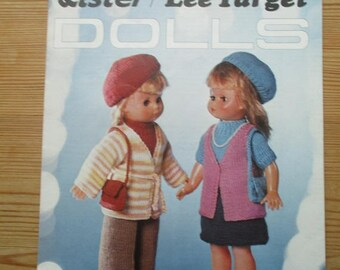 Doll Clothes knitting pattern , Lister Lee Target 588, original retro, DK, size 18 inch, trousers, beret, skirt, bag, necklace, waistcoat