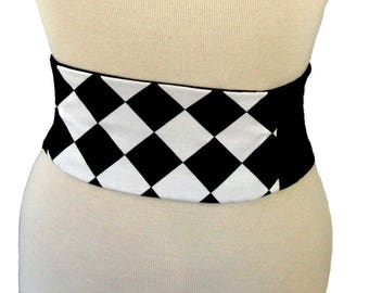 Harlequin Belt / Corset / Waist Cincher / Black and White Belt / Wedding Obi Belt / Offbeat Bride / Plus Size Cincher / Halloween Costume